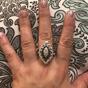 Jewelry - Size 9 silver Blue Sapphire & W. Topaz Ring